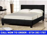 4 FT 6 DOUBLE LEATHER BED & MATTRESS (FAST DELIVERY)
