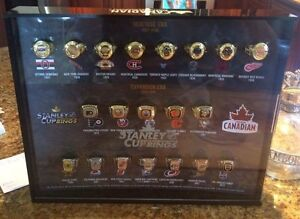 COMPLETE SET MOLSON NHL rings & DISPLAY CASE!