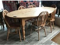 Large Solid Pine Drop Flap Table With Six Chairs