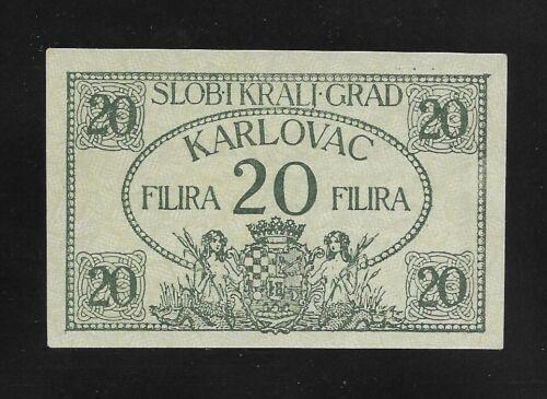 CROATIA, Town of Karlovac -  20 FILIRA, 1919,  UNC