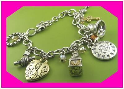 BRIGHTON LIBERTY Bell Heart Silver Gold Charm BRACELET Nwotag 12 Charm Heart Silver Bell