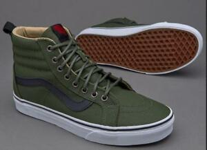 Brand New In-Box Olive Green, All White & Denim Blue Vans Shoes Off The Wall