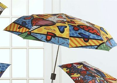 "Romero Britto Folding Travel Umbrella ""A New Day"" HEART Retired"