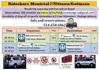 Covoiturage Montréal Ottawa Québec toronto Niagara + wifi