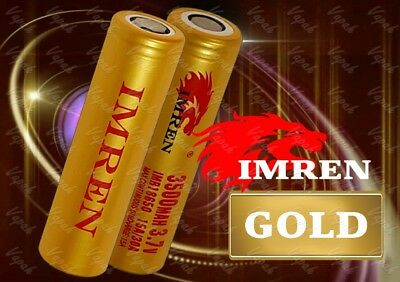 2 Imren GOLD 18650 3500mAh 15A/30A HIGH DRAIN Flat Top Battery  / Imren Case