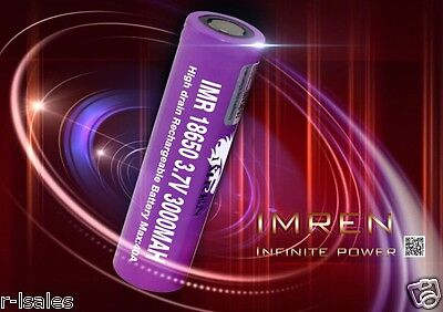 2 PURPLE IMREN IMR 18650 BATTERY HIGH DRAIN  3.7v 3000mAh 40A FL.T. w/ free case