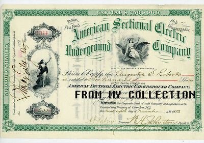 AMERICAN SECTIONAL ELECTRIC UNDERGROUND CO. Stock Certificate 1883 New Jersey NJ