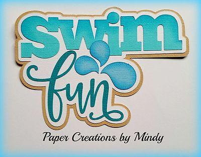 CRAFTECAFE MINDY SWIM FUN SUMMER premade paper piecing TITLE for scrapbook