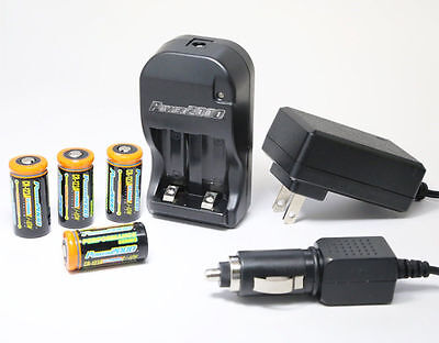New Power2000 4 Cr123a Lithium Rechargeable Batteries110 220V With Rapid Charger