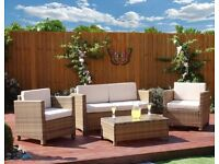LIGHT BROWN RATTEN GARDEN FURNITURE SET COFFEE TABLE AND CHAIRS + PROTECTIVE COVER + CUSHIONS
