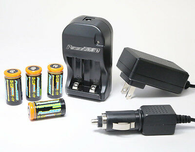 4 pcs Rechargeable CR123A 3.0V Batteries (Li-Ion) CR123 +Smart Charger 110/220V on Rummage
