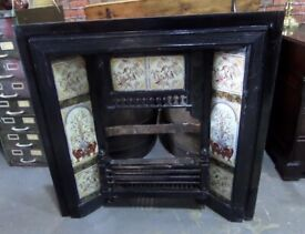 Fantastic Vintage Cast Iron Tiled Fire Back Plate - Delivery