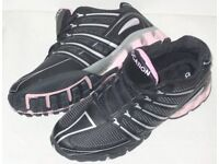 WOMENS LADIES BRAND NEW BLACK & PINK LOCATION TRAINERS SIZE 7 SHOES EURO 40 - 41
