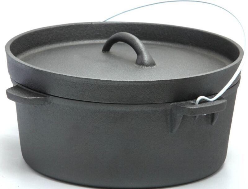 Cast Iron Dutch Camp Oven Lipped Lid 1,2.5, 4.5, 9, 9.5,12,16 Quart Camp Cooking