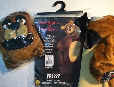 NEW FIVE NIGHTS FREDDY Plush Bear Halloween Costume Mens Small 34 - 36 Mask Set - Mens Bear Halloween Costume