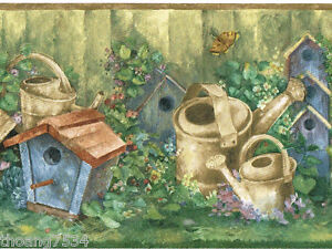 Birdhouse-Watering-Can-Bird-Nest-Green-Garden-Country-Kitchen-Wall-paper-Border