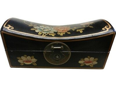 Large Black Painted Oriental Jewellery Box Pillow Shape (PS-L0B)