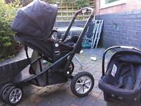 Mothercare Xpedior 3 Wheels Pushchair Pram Travel system