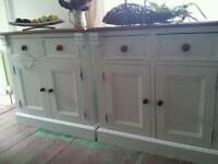 Pair of sideboards. Dressers. Laura ashely painted. Carved pine. Duck egg white