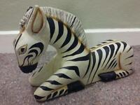 Zebra wooden hand made and painted decor ornament POSTAGE £3.50