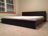Ikea Malm Kingsize Bed with Matching Dressing Table - brown/black