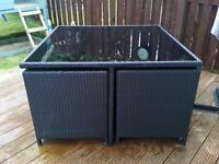 Rattan cube table and 4 chairs