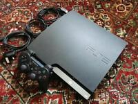 PLAYSTATION 3 PS3 SLIMLINE, 250GB, WITH CABLES AND CONTROLLER.