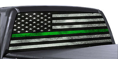 (FGD Truck Rear Window Decal Military Green Line American Flag Vinyl Wrap)