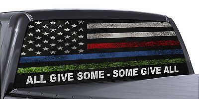 (FGD Truck Rear Window Decal Military Police & Fire American Flag Vinyl Wrap)