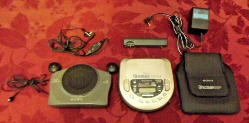 Rare Sony D-T405 Discman w/ Am/Fm Radio Remote Earphone Dry Cell Case AC Speaker