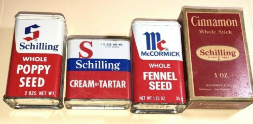 Schilling and McCormick Vintage Collectible Metal Tin Spice Containers 4 Types