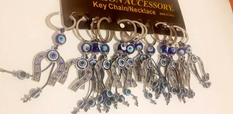 12 pc  Evil Eye with Horse Shoe Protection amulet Keychain Party favors Blue Gif