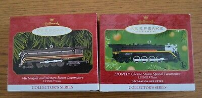 Two-Piece Set Hallmark Keepsake Lionel Train Chessie and Norfolk & Western Steam