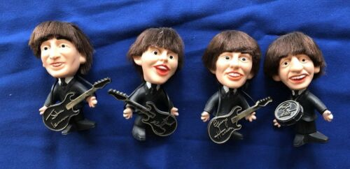 RARE 1964 Set of 4 Vintage Remco Soft Plastic Beatle Dolls With Instruments MINT