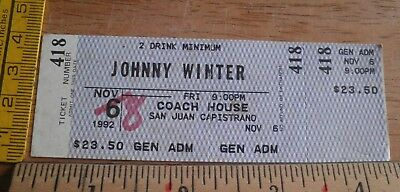 Johnny Winter Coach House 1992 Full concert ticket CA Winter Full House