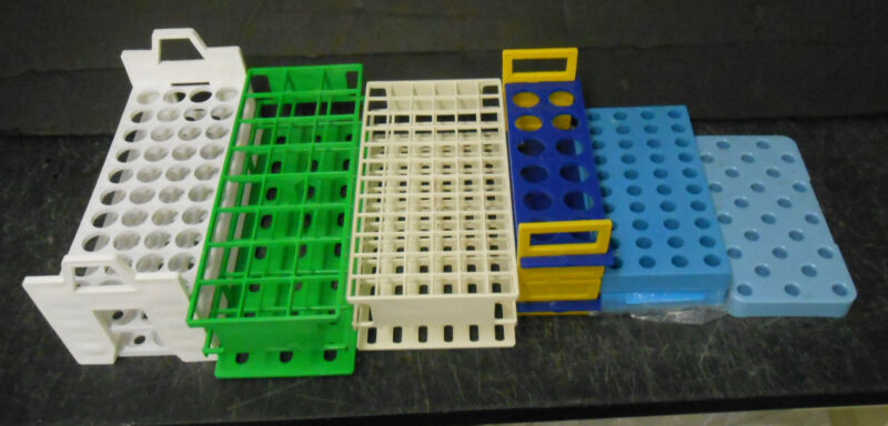 LOT OF 7  ASSORTED COLOR & SIZE TUBE / RACKS /  HOLDER / TRAYS