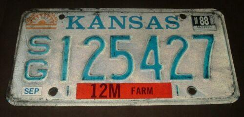 1988 Kansas License Plate SG 125427 Sedgeick County Farm Truck Tag