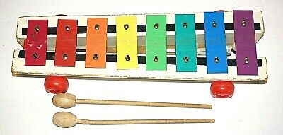 Vintage Fisher-Price Pull-a-Tune Xylophone with 2 Wooden Drums Model: 870 (1964)