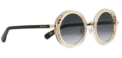 Jimmy Choo GEM/S 1FN Round Plastic Sunglasses Crystal Gold Grey Gradient (Jimmy Choo Crystal Sunglasses)