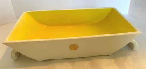Vintage Erphila Czechoslovakia Modern Dish Planter Ikebana Pottery Yellow White