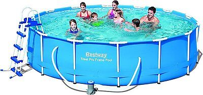 """Bestway Swimming Pool with Pump Ladder Filter Cover Mat Steel Frame 14ft x 39.5"""""""