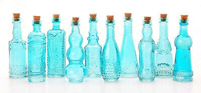 """Vintage Glass Bottles w/ Corks Set 10 Designs 5"""" Tall BLUE wedding favor NEW"""