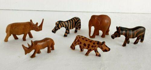 Vintage Hand carved Wooden Safari Animals Lot Of 6