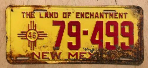 "1946 NEW MEXICO PASSENGER LICENSE PLATE "" 79 499 "" NM 46 ALL ORIGINAL CONDITION"