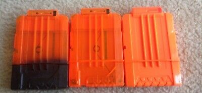 (3) NERF N-Strike Orange 6 Round Dart Magazine Clip Lot