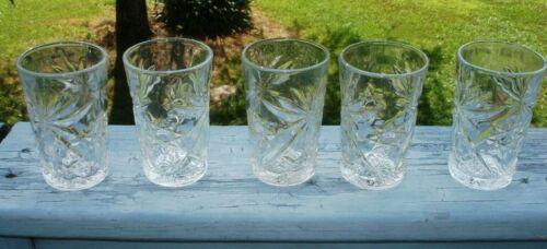 Vintage Anchor Hocking Star of David Juice Glasses Set of 5
