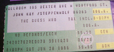 Steppenwolf & The Guess Who 1986 Concert Ticket Stub Agora Ballroom Hartford CT