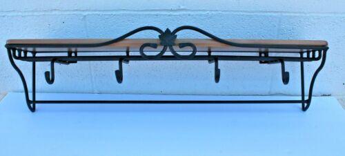 Longaberger Wrought-Iron Narrow Wall Rack with 4 hooks and Woodcraft Shelf.