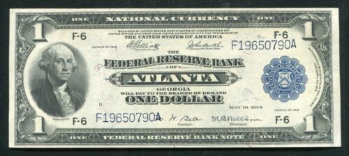 FR. 726 1918 $1 ONE DOLLAR FRBN FEDERAL RESERVE BANK NOTE ATLANTA, GA ABOUT UNC