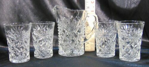 Anchor Hocking Prescut Clear Glass Star Of David Pattern Juice Glasses & Pitcher